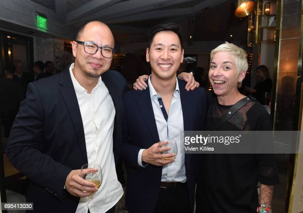 Joe Tung Brandon Hsiung and Sarah Schutz attend BAFTA Honours Riot Games with Special Award at The London West Hollywood on June 12 2017 in West...