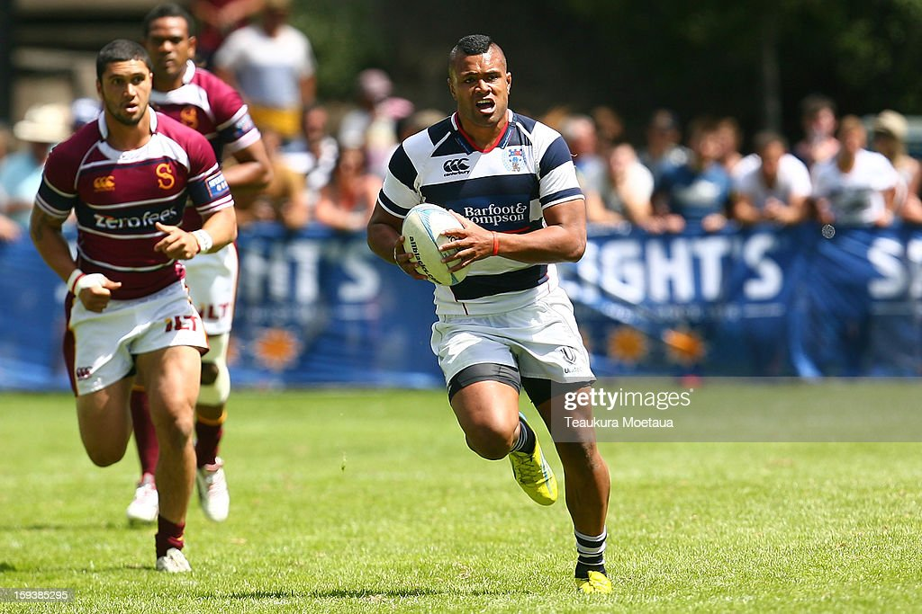 Joe Tupe of Auckland makes a break against Southland during the National Rugby Sevens at the Queenstown Recreation Ground on January 13, 2013 in Queenstown, New Zealand.