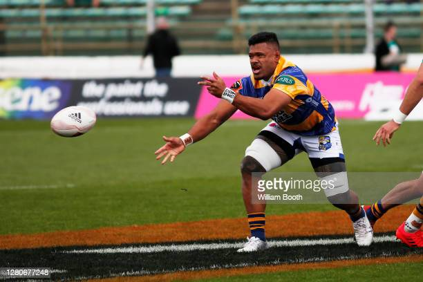 Joe Tupe passes the ball during the round 6 Mitre 10 Cup match between Manawatu and the Bay of Plenty at Central Energy Trust Arena on October 17,...