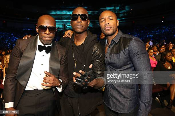 Joe Tyrese Gibson and Tank attend The 2014 Soul Train Awards on November 7 2014 in Las Vegas Nevada