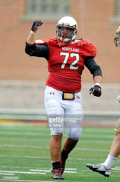 Joe Vellano of the Maryland Terrapins celebrates after a defensive stop against the William Mary Tribe at Byrd Stadium on September 1 2012 in College...