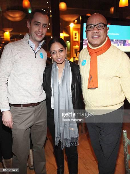 Joe Voeller Maya Harris and Darren Walker attend the Ford Foundation Just Films Dinner during the 2012 Sundance Film Festival on January 23 2012 in...