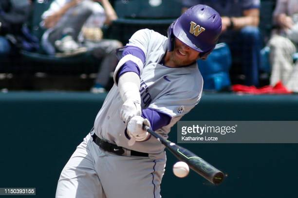 Joe Wainhouse of University of Washington takes a swing during a baseball game against UCLA at Jackie Robinson Stadium on May 19 2019 in Los Angeles...