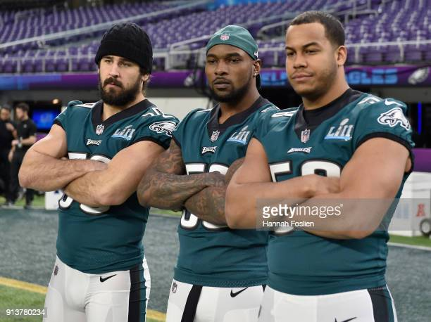 Joe Walker Nigel Bradham and Jordan Hicks of the Philadelphia Eagles pose for a photo during Super Bowl LII practice on February 3 2018 at US Bank...