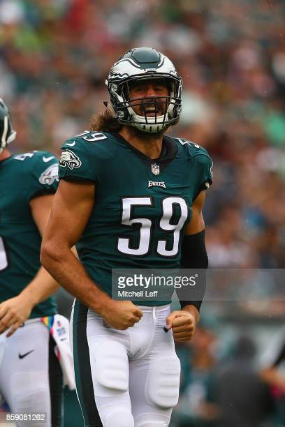 Joe Walker of the Philadelphia Eagles reacts against the Arizona Cardinals during the second quarter at Lincoln Financial Field on October 8 2017 in...