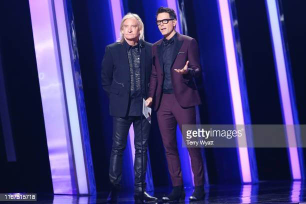 Joe Walsh and Bobby Bones speak onstage during the 53rd annual CMA Awards at the Bridgestone Arena on November 13 2019 in Nashville Tennessee