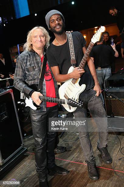 Joe Walsh and Gary Clark Jr attend the 30th Annual Rock And Roll Hall Of Fame Induction Ceremony at Public Hall on April 18 2015 in Cleveland Ohio