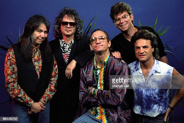 Joe Walsh and his band Kenny Passarelli Al Kooper Joe Walsh unknown and Joe Vitale backstage at the Warfield Theater in San Francisco on September 6...