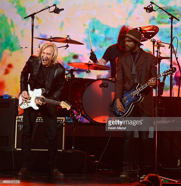 Joe Walsh Dave Grohl and Gary Clark Jr perform onstage at The Night That Changed America A GRAMMY Salute To The Beatles at Los Angeles Convention...