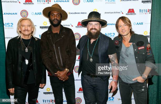 Joe Walsh Gary Clark Jr Zac Brown and Keith Urban attend the VetsAid Charity Benefit Concert press conference at Eagle Bank Arena on September 20...