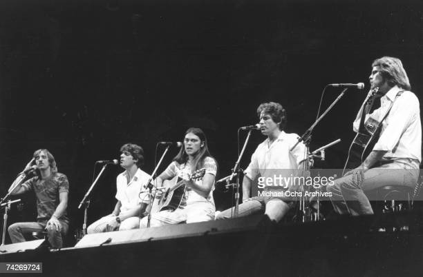 """Joe Walsh, Glenn Frey, Timothy B. Schmit, Don Henley and Don Felder of the rock band """"Eagles"""" performing onstage in 1980."""