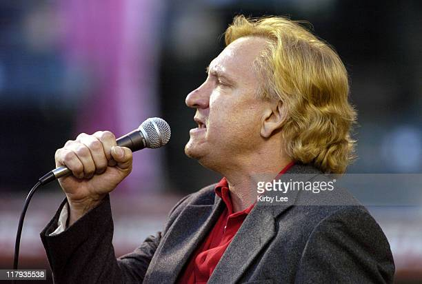 Joe Walsh sings the national anthem before Anaheim Angels game against the Kansas City Royals at Angel Stadium in Anaheim Calif on Wednesday August...