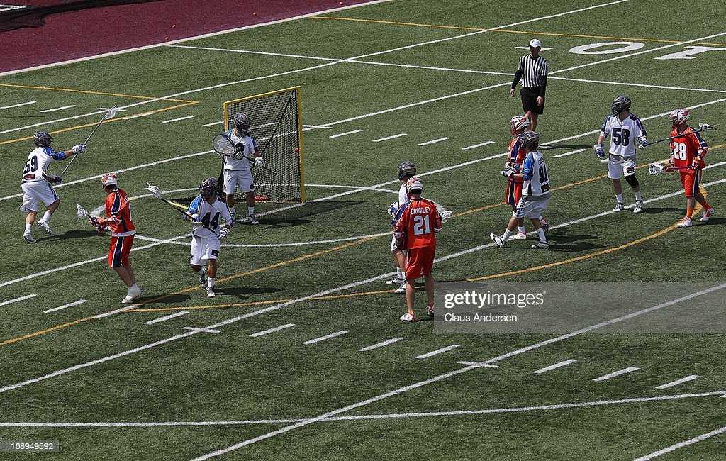 Joe Walters #1 of the Hamilton Nationals fires a shot off the post against the Charlotte Hounds in a Major League Lacrosse game at Ron Joyce Stadium in Hamilton, Ontario, Canada. The Nationals defeated the Hounds 16-15 in overtime.