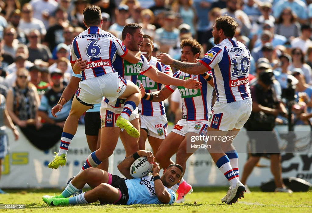 Joe Wardle of the Knights celebrates scoring a try during the round five NRL match between the Cronulla Sharks and the Newcastle Knights at Southern Cross Group Stadium on April 1, 2017 in Sydney, Australia.