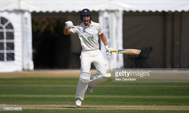 Joe Weatherley of Hampshire celebrates victory during Day 4 of the Bob Willis Trophy match between Middlesex and Hampshire at Radlett Cricket Club on...