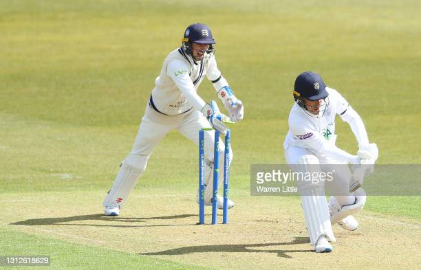 Joe Weatherley of Hampshire is stumped by John Simpson of Middlesex off the bowling of Ethan Bamber during the LV=Insurance County Championship match...