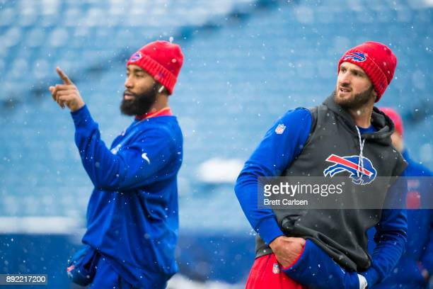 Joe Webb and Nathan Peterman of the Buffalo Bills warm up before the game against the Indianapolis Colts at New Era Field on December 10 2017 in...