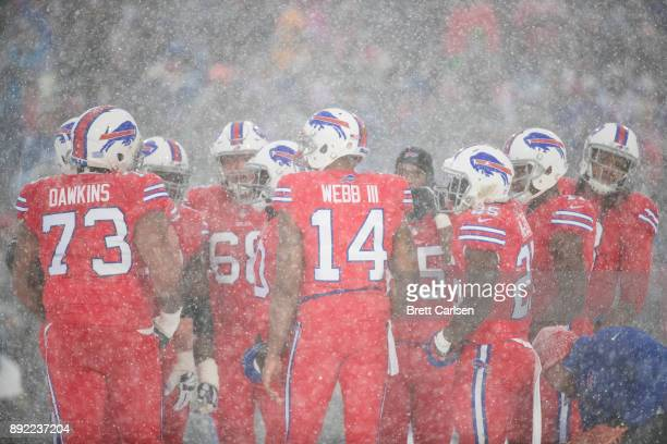 Joe Webb of the Buffalo Bills stands in the huddle with teammates during the third quarter against the Indianapolis Colts at New Era Field on...