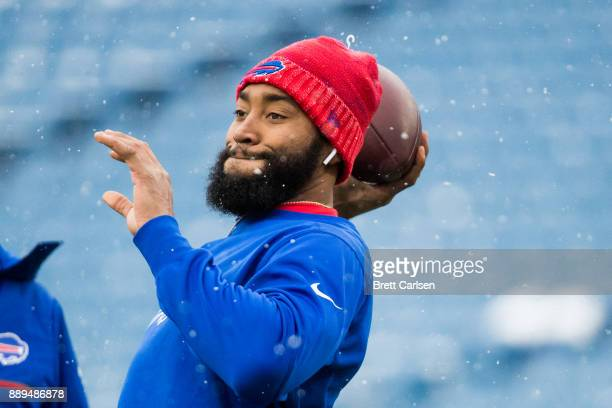 Joe Webb of the Buffalo Bills throws the ball before a game against Indianapolis Colts on December 10 2017 at New Era Field in Orchard Park New York