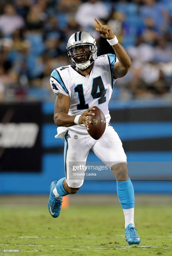 Joe Webb #14 of the Carolina Panthers looks to pass against the Pittsburgh Steelers during their game at Bank of America Stadium on August 31, 2017 in Charlotte, North Carolina.