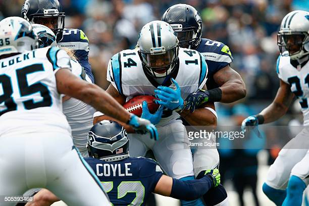 Joe Webb of the Carolina Panthers runs the ball against Brock Coyle of the Seattle Seahawks in the 1st quarter during the NFC Divisional Playoff Game...
