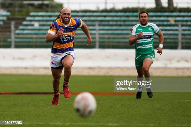 Joe Webber and Newton Tudreu chase a loose ball during the round 6 Mitre 10 Cup match between Manawatu and the Bay of Plenty at Central Energy Trust...