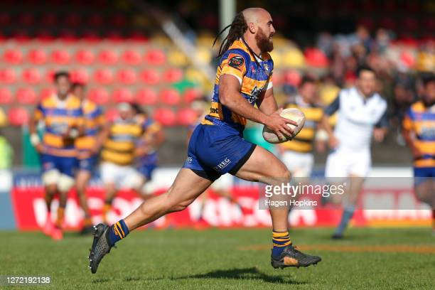 Joe Webber of Bay of Plenty in action during the round 1 Mitre 10 Cup match between the Taranaki Bulls and Bay of Plenty Steamers at TET Stadium &...