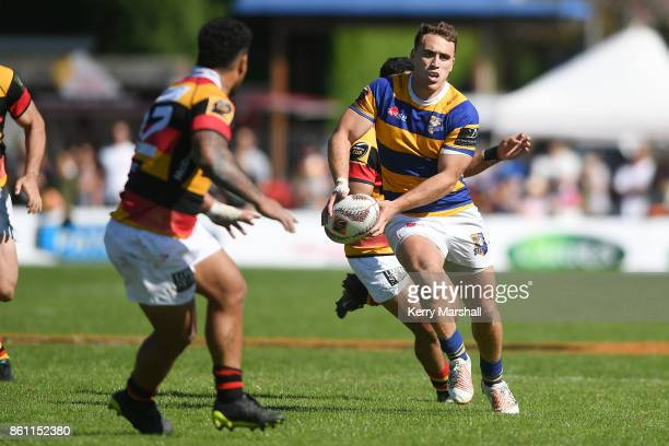 Joe Webber of Bay of Plenty looks to pass during the round nine Mitre 10 Cup match between Bay of Plenty and Waikato at Tauranga Domain on October 14...