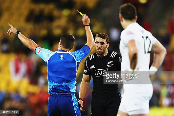 Joe Webber of New Zealand is given a yellow card during the Cup Final match between New Zealand and England in the 2015 Wellington Sevens at Westpac...