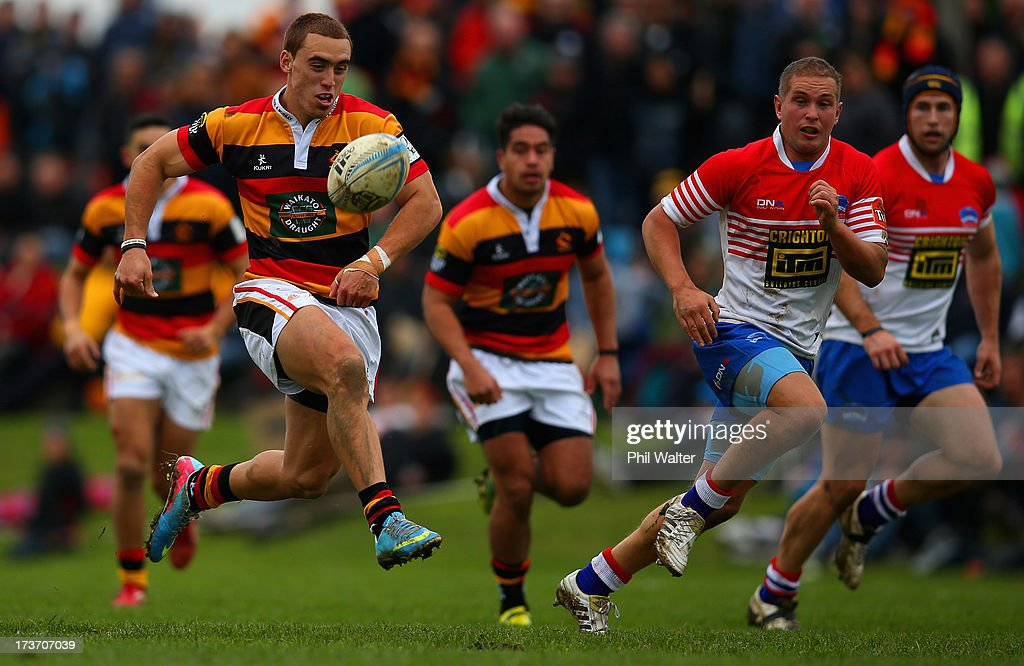 Joe Webber of Waikato kicks ahead to score a try during the Ranfurly Shield match between Waikato and Horowhenua-Kapiti at the Morrinsville Domain on July 17, 2013 in Morrinsville, New Zealand.