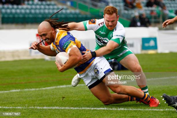 Joe Webber scores a try during the round 6 Mitre 10 Cup match between Manawatu and the Bay of Plenty at Central Energy Trust Arena on October 17,...