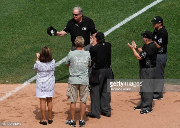 Joe West is recognized for umpiring the second most games in MLB history marking his 5164th game after the fifth inning of the interleague game...