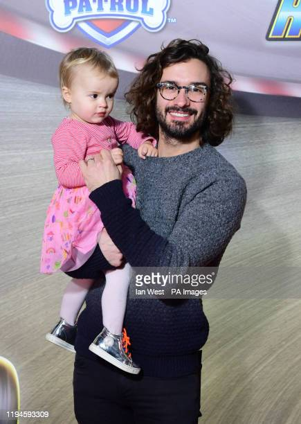 Joe Wicks and Indie arriving for the Paw Patrol: Ready Race Rescue Gala screening at Cineworld Leicester Square, central London.