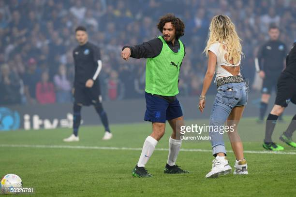 Joe Wicks and Rita Ora during the Soccer Aid for UNICEF 2019 England v Soccer Aid World XI at Stamford Bridge on June 26th 2019 in London England