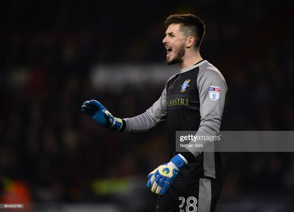Joe Wildsmith of Sheffield Wednesday gives orders to his team mates during the Sky Bet Championship match between Sheffield United and Sheffield Wednesday at Bramall Lane on January 12, 2018 in Sheffield, England.