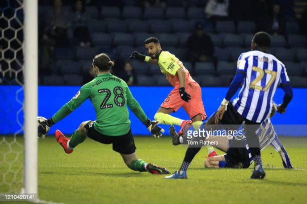 Joe Wildsmith of Sheffield Wednesday saves a shot from Riyad Mahrez of Manchester City during the FA Cup Fifth Round match between Sheffield...