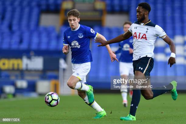 Joe Williams of Everton and Christian Maghoma challenge for the ball during the Premier League 2 match between Everton U23 and Tottenham Hotspur U23...