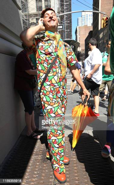 Joe Williams wears a graphic jumpsuit during the Pride March as part of Stonewall 50 New York City Pride on June 30 2019 in New York City