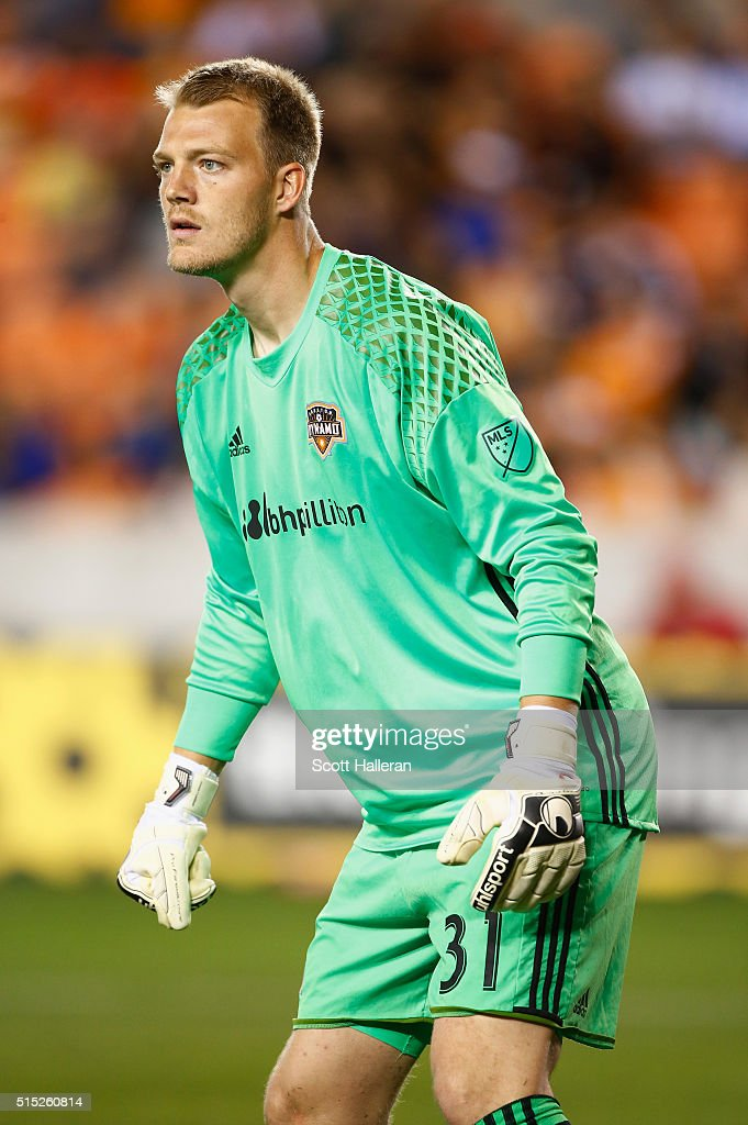 Joe Willis #31 of Houston Dynamo waits in goal in the second half against FC Dallas during their game at BBVA Compass Stadium on March 12, 2016 in Houston, Texas.