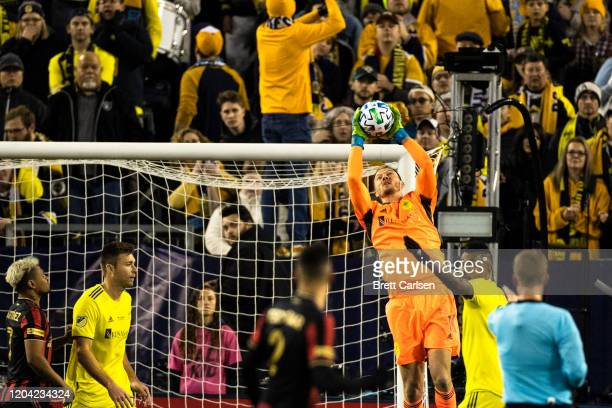 Joe Willis of Nashville SC makes a leaping grab during the first half against Atlanta United at Nissan Stadium on February 29 2020 in Nashville...