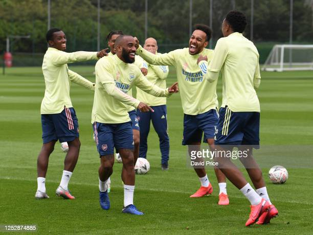 Joe Willock, Alexandre Lacazette and Pierre-Emerick Aubameyang of Arsenal during the Arsenal 1st team training session at London Colney on June 27,...