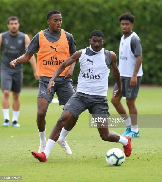 Joe Willock and Ainsley MaitlandNiles of Arsenal during a training session at London Colney on July 16 2018 in St Albans England