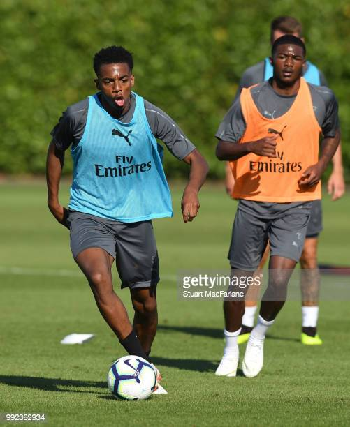 Joe Willock and Ainsley MaitlandNiles of Arsenal during a training session at London Colney on July 5 2018 in St Albans England