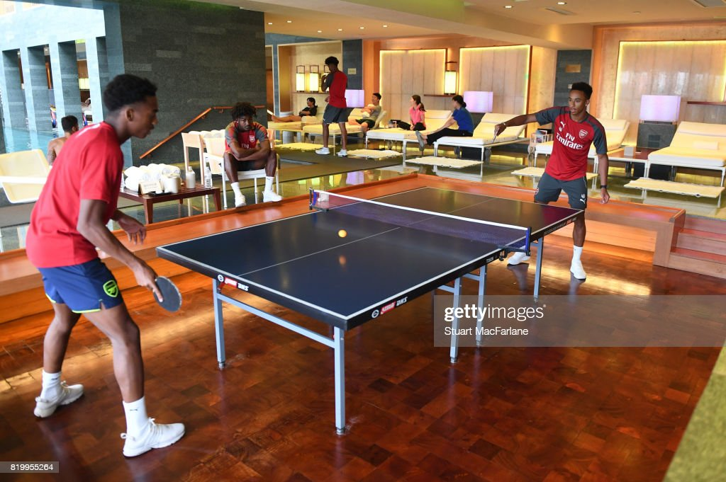 Joe Willock and Cohen Bramall of Arsenal play table tennis in the team hotel on July 21, 2017 in Beijing, China.