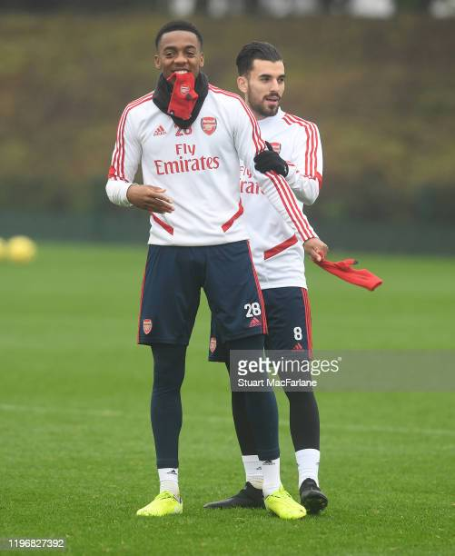 Joe Willock and Dani Ceballos of Arsenal during a training session at London Colney on December 31 2019 in St Albans England