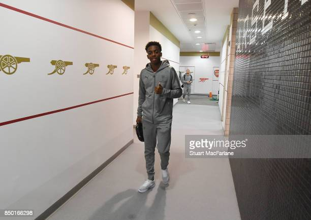 Joe Willock arrives in the Arsenal changing room before the Carabao Cup Third Round match between Arsenal and Doncaster Rovers at Emirates Stadium on...