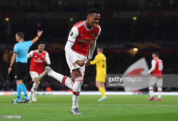 Joe Willock celebrates scoring Arsenal's 3rd goal during the UEFA Europa League group F match between Arsenal FC and Standard Liege at Emirates...
