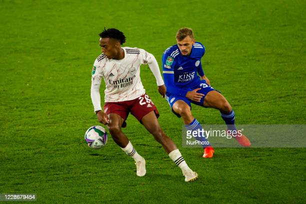 Joe Willock of Arsenal and Kiernan DewsburyHall of Leicester City during the Carabao Cup match between Leicester City and Arsenal at the King Power...