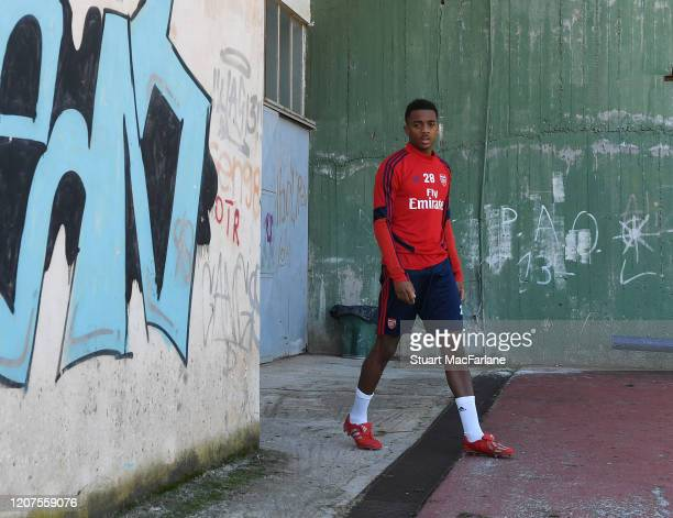 Joe Willock of Arsenal before a training session before the UEFA Europa League round of 32 first leg match between Olympiacos FC and Arsenal FC at...
