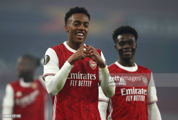 Joe Willock of Arsenal celebrates after he scores his team's fourth goal during the UEFA Europa League Group B stage match between Arsenal FC and...